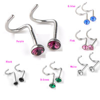 Atacado 316L Cirúrgico Aço Inoxidável Multicolor Crystal Nose Stud Rhinestone Nose Ring Piercing Body Jewelry 50pcs com Display