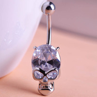 Compra Piercing Di Ombelico Di Diamanti-All'ingrosso-CZ Diamond 2015 Skeleton Skull Body Piercing Anello Diapersone Anello Dito Belly Button Anelli Wholesale Body Jewelry Lotti Pirsing Pircing