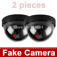 Wholesale Security Looks - Wholesale-2 pieces Fake CCTV Security Cameras Dummy Camera Wireless Indoor Dome IR LED Surveillance CCTV Camera Realistic Looking