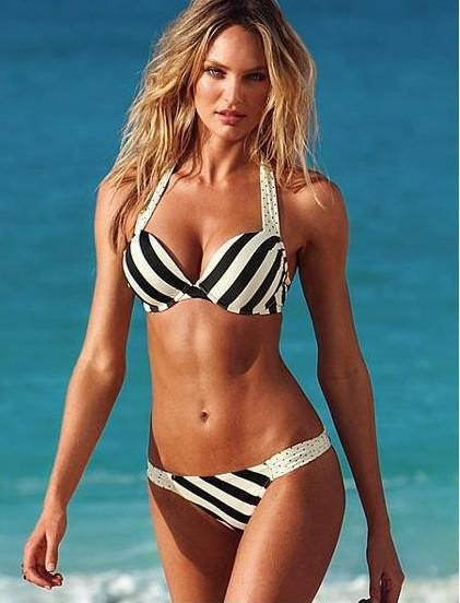 986371a8ea 2019 2015 Summer Women Swimwear Black And White Stripe Beachwear ...