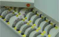 Wholesale Taiwan False Eyelashes Wholesale - Wholesale-Taiwan handmade false eyelashes transparent stems naturally thick end of eye elongated hot new F-08-free shipping