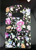 Wholesale Jewelry Pouches China - Wholesale-NEW Arrived! 500Pcs 15X9cm China Style Flowers Pattern Pretty Plastic Black Jewelry Gift Bag Mini Gift Pouches Free Shipping