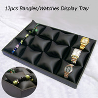 Wholesale Display Jewellery Bracelets Watches - Wholesale-New 2015 Display Jewelry Ideas Bangle Bracelet Watch Display Tray Black Leatherette Jewellery Display Case Holder