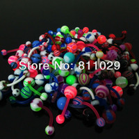 Wholesale Navel Piercing 8mm - Wholesale-piercing curved barbell 100pcs 1.6*10*5 8mm print acrylic mixed belly button ring banana barbell navel ring free shipping