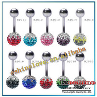 Gros-12mm Cristal Disco Shamballa Boule Belly Ring, Nombril Belly Button Navel Ring Body Piercing options Mix BJGmix2