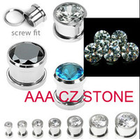 Wholesale Large Stainless Steel Plugs - Wholesale-stainless steel press fit large AAA cubic zirconia stone screw on flesh tunel cz ear plug ear gauges free shippoing