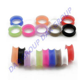 Wholesale Ear Plugs 3mm - Wholesale-DAR 13 Pair  Set 3mm- 25mm Silicone Flesh Tunnel Earing Ear Tunnel Plugs Expander Piercing Body Jewelry Free Shipping