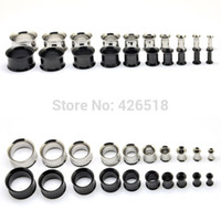 Wholesale Titanium Expander - Wholesale-Black Titanium Anodized Flesh Tunnel Expander Ear Plug Double Flare Stretcher