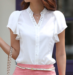 Wholesale Short Sleeve Chiffon Blouses - Wholesale-New 2015 Summer Fashion Leisure women shirt Beading V-neck Flouncing Big size short sleeve chiffon blouse