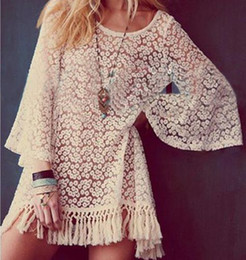 Wholesale Boho Hippie Clothes - 2016 Vintage Hippie Boho Bell Sleeves Gypsy Festival Fringe Sexy Lace Mini Dress Tops,Women Summer Tassel White Clothing,Free Shipping
