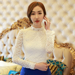 Wholesale Turtleneck Women Lace - Wholesale-Hot Sale Women White Apricot Black Blouse New In 2015 Spring Fashion Elegant Turtleneck Long Sleeve Lace Bodysuit Shirt 1267