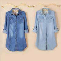 camisa larga de mezclilla chaqueta al por mayor-Al por mayor-Mujeres 2015 Nueva manga larga Slim Blue Denim Shirt Dress Jeans Blusa Chaqueta de la capa Tops estilo largo ZD116