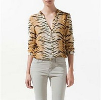 Wholesale Blouse Tigers - Wholesale-W25  CHIC SEXY LONG SLEEVE V-NECK TIGER PRINT SHIRT BLOUSE TOP