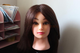 "Wholesale Hairdressing Training Heads Real Hair - Wholesale-Wholesale - Neverland Brown Real Human Hair 22"" Hairdressing Practice Training Head Mannequin + FREE Clamp"