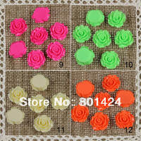 Wholesale Rose Cabochon Resin - Wholesale-81-79 Resin Cameos rose Flatback Cabochon mixed colour 100pcs floating charm free shipping
