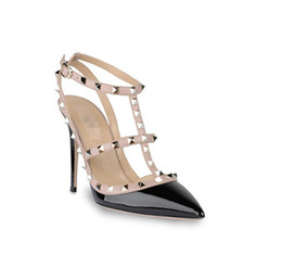 Wholesale Wedge Studded - Wholesale-dress sexy 2015 size 5 custom high heels studded shoes stiletto brand black pumps for women