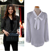 Wholesale dotted blouse - Wholesale-New Lady Women Loose Casual Chiffon Long Sleeve Shirt Tops Lady Blouse Dave