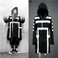 белая окоп с капюшоном оптовых-Wholesale-British Gothic Harajuku  Casual Loose Long Winter Trench Coat Men Overcoat Mens Hooded Cloak Pea Coat,Black White,M-XL