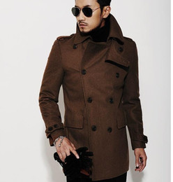Wholesale Mens Wool Pea Coat Slim - Wholesale-Brown 2015 new autumn winter Double breasted wool coat men fit slim mens pea coat woolen fashion handsome coats cashmere S - 3XL