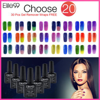 All'ingrosso-Elite99 Chameleon Temperatura Cambia Gel Color Nail Polish professionale origanic gel UV polacchi 20 colori 20Pcs Remover Wraps
