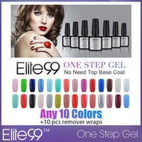 Wholesale One Step Gel Led - Wholesale-Elite99 No Need Base Top Coat UV LED Hot One Step Gel Polish Nail Choose 10 colors out of 60 colors