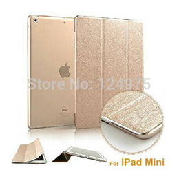 Wholesale Ipad Frosted Hard - Wholesale- Champagne Gold Ultra Slim Smart Cover PU Leather Case Cover +Translucent clear frosted back hard case for iPad Mini 2 Retina