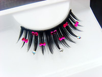 Wholesale Eyelash Bow - Wholesale-Eyelashes Rhinestone false eyelashes eyelash bow diamond Latin dance style bridal make-up False Eyelashes