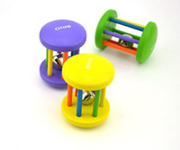 ensemble d'instruments en bois achat en gros de-Wholesale-3PCS / SET Bague en bois Rattle Hand Bell Toy Enfant Kid Infant Ring Bell Vert / Bleu / Jaune Baby Musical Instrument Early Learn Toy