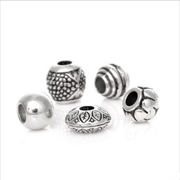 Wholesale Silver Tone Metal Charms Wholesale - Wholesale-50Pcs Mixed Silver Tone Acrylic Spacers Beads Big Hole Beads Fit European Charm Bracelet For Jewelry Making 4B074