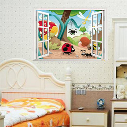 Wholesale Insects Wall Kids Decals - Wholesale-insects window wall sticker family nursery wall stickers for kids room pvc removable animal cartoon wall decals home decoration