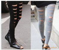 Wholesale Slashed Stretch Pants - Wholesale-New Fashion Women's Ladies Girls Sexy Ripped Torn Slashed Stretch Slim Tights Leggings Pants, Free & Drop Shipping