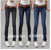 Wholesale Watches Light Women - Wholesale-2015 New Fashion New Autumn Low Waist Pencil Denim Jeans woman,Women Skinny Watch Pants 3 Colors