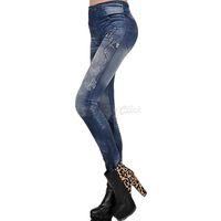 Wholesale Look Punk Casual - Wholesale-New Women Sexy Tattoo Jean Look Legging Sport Leggings Punk Fitness American Apparel Jeans Casual Woman Pencil Skinny Pants FC94