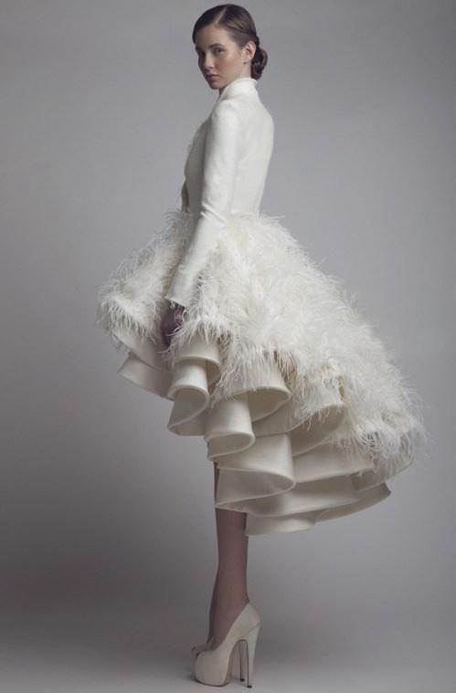 white feather wedding dress | Wedding