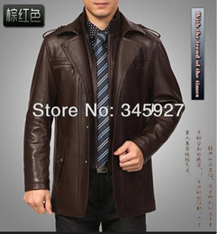 Wholesale Genuine Brown Leather Jackets - Wholesale-Free shipping !!! 2015 Male plus velvet leather in the long section men's leather jacket lapel business casual warm jacket