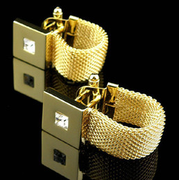 Wholesale-Luxury Gold plated Chain Design Cufflinks Cuff nails with Crystal Men's Cuff Links For Wedding Wholesale Gift on Sale