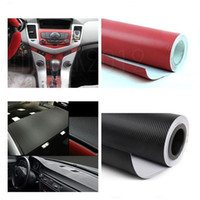 Vente en gros-Car Styling 127CMx30CM Waterproof DIY autocollant de voiture 3D voiture rouge en fibre de carbone vinyle Emballage Film