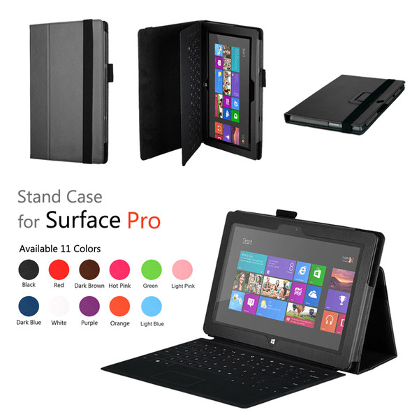 Wholesale-Free Shipping For Windows 10.6 inch Surface Pro 2 Stand flip Leather Cover Case ,+1pc screen Protectors.