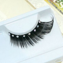 Eyelashes Glitters Canada - Wholesale-1 pair pack Clear crystal glitter artificial false eyelashes.18.17842.Free shipping