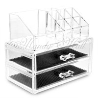 Atacado-Novo Clear Acrylic Makeup Lipstick Display Stand Holder Cosmetic Storage