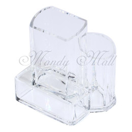 прозрачные акриловые футляры оптом Скидка Wholesale-Clear Acrylic Desk Cosmetic Lipstick Brush Holder Makeup Storage Case