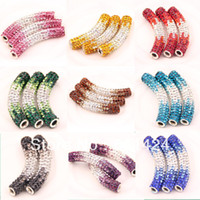 Wholesale Shamballa Curve Tube Bead - Wholesale-Long Tube Shamballa Crystal Beads Pave Crystal Rhinestone Curved Bar 10pcs multi colour mixed 58-246
