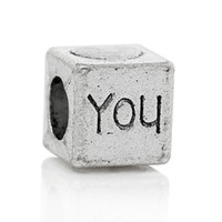 Wholesale 8mm cube beads resale online - European Charm Beads Cube Antique Silver quot You quot Heart Carved About mm x mm Hole about mm new