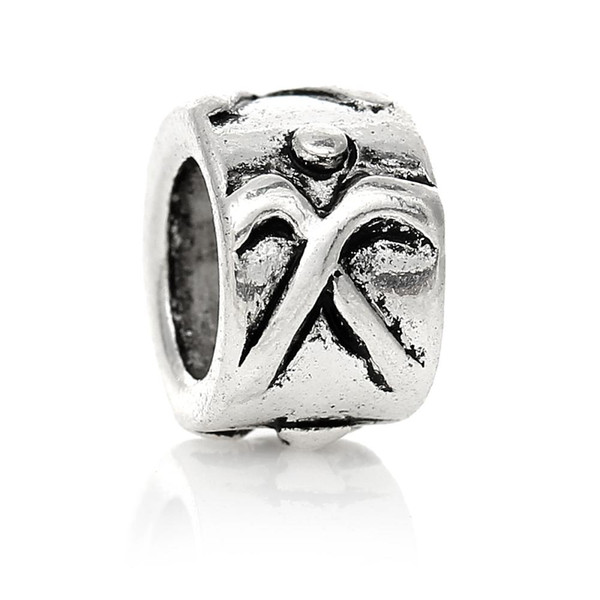 European Style Charm Beads Round Antique Silver Ice Hockey Stick Pattern 9.0mm x 6.0mm,Hole 5.1mm,50 PCs 2015 new