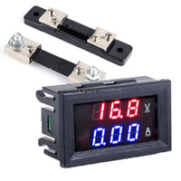 Wholesale Led Voltage Amp Meter - Wholesale-Red Blue DC 0-100V 50A Dual Display Voltage Meter Digital LED Voltmeter Ammeter Panel current Amp meter Volt Gauge SV002166_1H