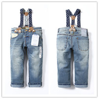 Wholesale High Waist Jeans For Kids - Wholesale-Free shipping new 2015 spring and autumn High Quality Kids Jeans with Suspenders for boys and girls denim pants