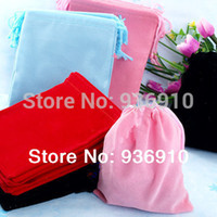 Wholesale Velvet Jewelry Bags Boxes - Wholesale-Ring Box Jewellery Box Display free Shipping 100pcs Mix Color 7x9cm Velvet Bag jewelry Bag velvet Pouch, Pouch Bag gift Bag free