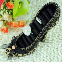 Wholesale Display Ring Shoes - Wholesale-ES0206 Chic High-Heel Shoe Ring Earring Jewelry Display Holder Tool Free Shipping