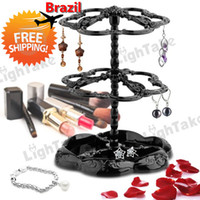 Wholesale earring stands - Wholesale-Brazil Free Shipping Practical Three-tier Rotatable Earring Holder Display Stand Rack Fashion Earing & Jewelry Hanger