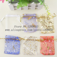 Wholesale Jewellery Pouches Boxes - Wholesale-100 Random Mixed small organza bags drawstring pouches Gift Bags&Pouches 9x7cm jewellery box gift box packaging